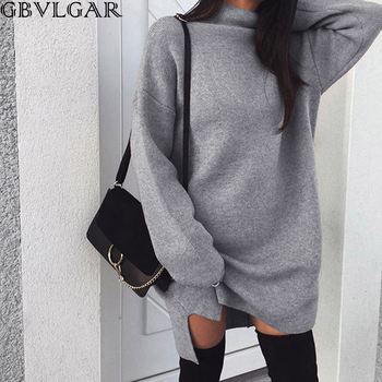 Women Autumn Winter Warm Long Sleeve Knitted Slit Sweater Solid Plus Size Turtleneck Sweaters Pullover Jumper Female Clothes autumn winter turtleneck knitted warm sweaters women new lantern sleeve side slit jumper pullover solid casual loose sweater top