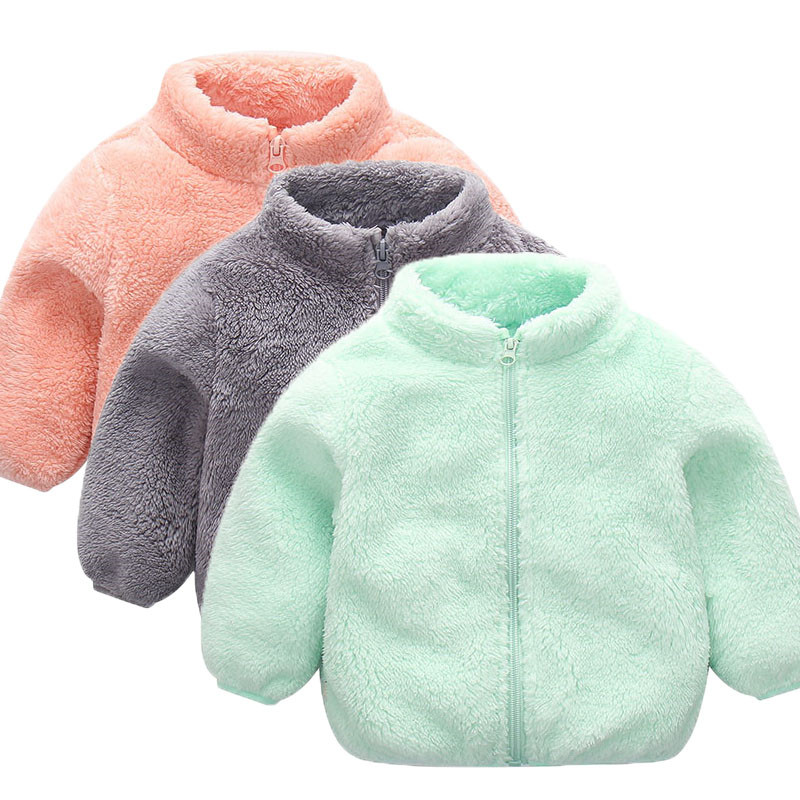 Toddler Kid Baby Winter Clothes Girl Boy Long Sleeve Zipper Girls Children's Clothes Solid Velvet Coat Warm Clothing Outwear