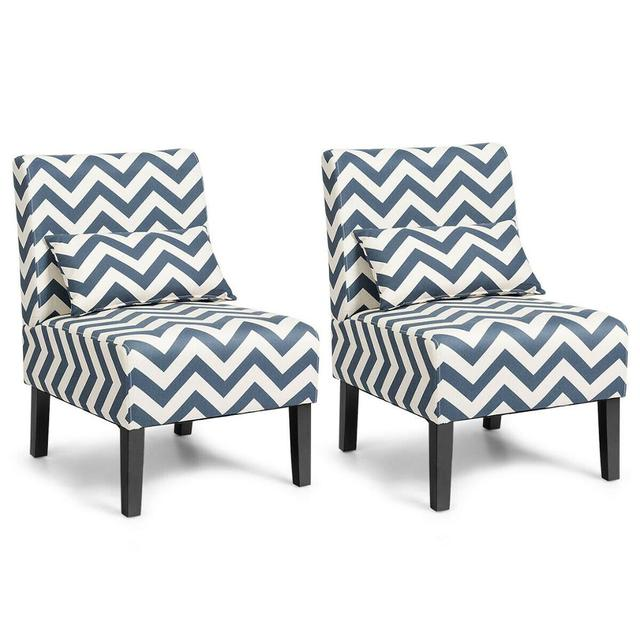 Set of 2 Armless Accent Chairs  1