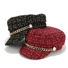 Модная классическая шляпа военная шляпа осень Матросская шляпа для Для женщин черный, красный с плоским верхом Женская дорожная Кепка-кадетка Кепка Капитана регулируемый