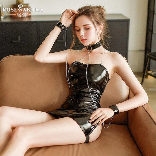 נשים סקסי הלבשה תחתונה שמלת עור שמלת שרוולים הלטר צוואר חצי לראות דרך Slim ערב המפלגה שמלת Clubwear Bdsm Bondage