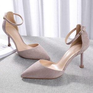 Image 4 - Женская обувь; коллекция 2020 года; обувь на тонком высоком каблуке; Офисная Женская обувь из флока с острым носком и ремешком на щиколотке; элегантные пикантные Босоножки на каблуке из двух предметов