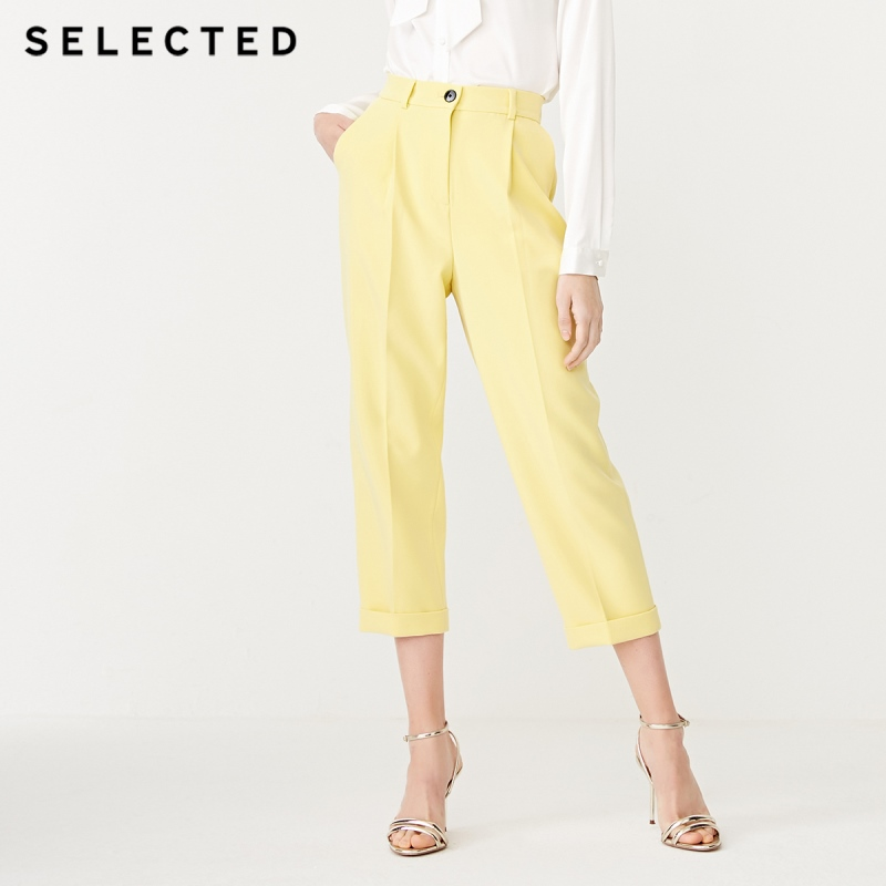 SELECTED Women's Rolled Cropped Business Casual Trousers Suit Pants S|419118504