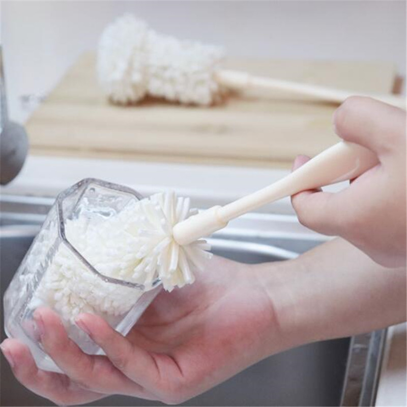 Mini Milk Bottle Cleaner Long Handle Sponge Cup Brush Cleaning Glass Kitchen Tools Baby Care Baby Milk Bottle Brush Cleaner