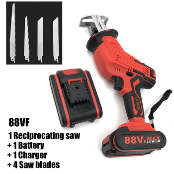 88VF Reciprocating Saw Cordless Electric Chainsaw For Wood Metal Plasitic Pipe Cutting With Battery Blades Portable Power Tool