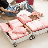 7Pcs/set Travel Packing Cube Bag Organizer Clothe Mesh Storage Bag Underwear Bra Sock Pouch Wash Bags Travel Accessories