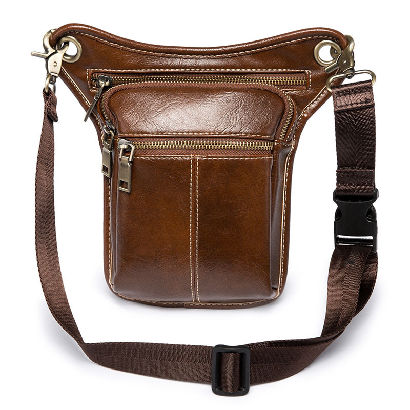 Waist Pack Bag Men Leather Drop Leg Bag Casual Fanny Pack Leather Thigh Belt Hip Bum Male Motorcycle Messenger Shoulder Bags