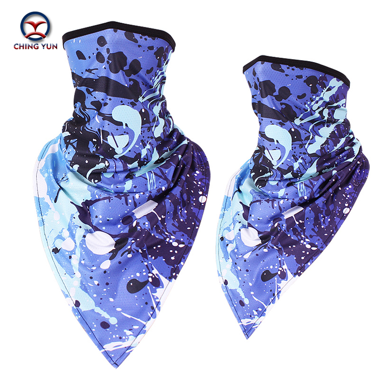 CHING YUN sports mask summer ice silk mask running mask Sun cycling digital printing outdoor sunscreen windproof triangle scarf title=