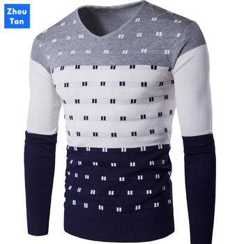 2020 Men's Casual Autumn Fashion Casual Strip Color Block Knitwear Jumper Pullover Sweater sale Material Cotton Mens Sweaters color block striped jumper