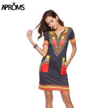 Aproms Sexy V Neck Pocket Patchwork Bodycon Tunic Dress Women Summer 2020 Robe African Print Dashiki Dresses Sundresses Vestidos 2