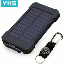 30000mAh  Power Bank Waterproof Solar Charger 2 USB Ports External Charger Powerbank for Xiaomimi Smartphone with LED Light