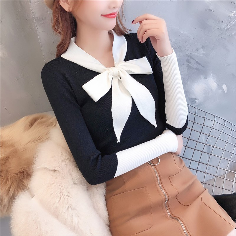 Nice Tide Autumn Women Bow Sweater Pullover Sweater V-neck Knitted Patchwork Sweater Female Long Sleeve Basic Sweater