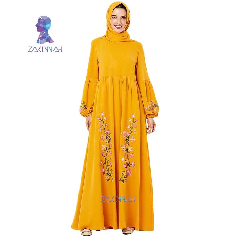 9206 Middle East Arabian Plus Size Yellow Embroidered Muslim Dress Dubai Abayas For Women Hijab Dress Moroccan Kaftan Islamic