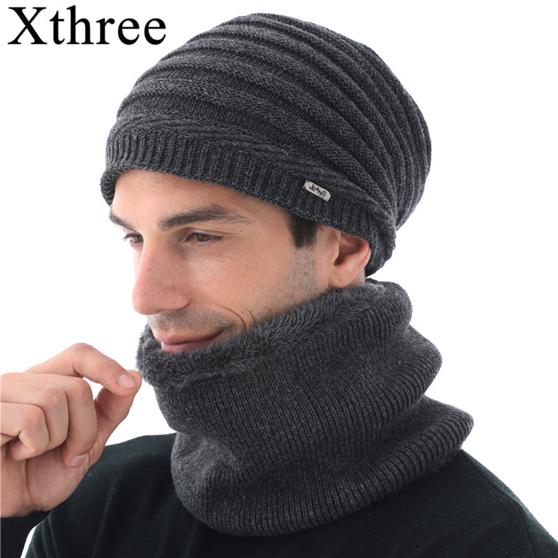 Knitted Hat Xthree Scarf Beanies Gorras-Bonnet Wool with Men Lining Male Winter for Skullies