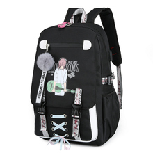 Large Backpack School Bags for Teenage Girls Usb with Lock Anti Theft BackPack Youth Nylon Printing Black Bagpack Ribbon Fashion