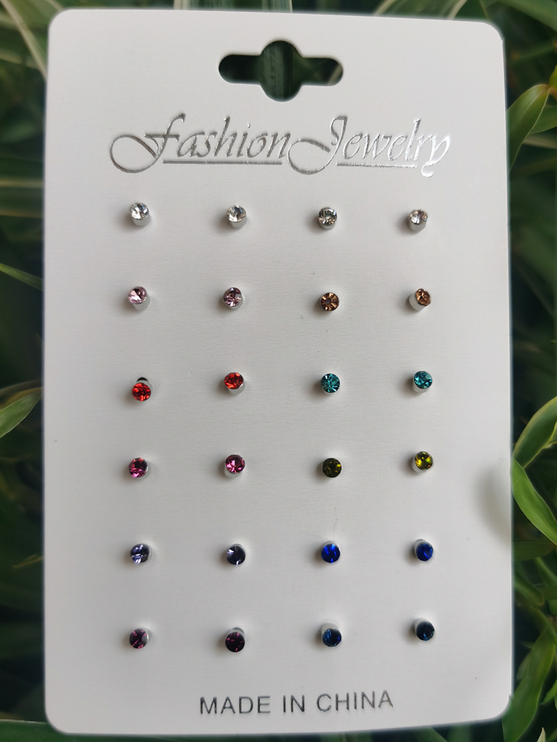 12Pairs Mini Cute Rhinestone Stud Earrings Set Women 2020 Fashion Jewelry Colorful Cubic Zirconia Clip On Earrings Set