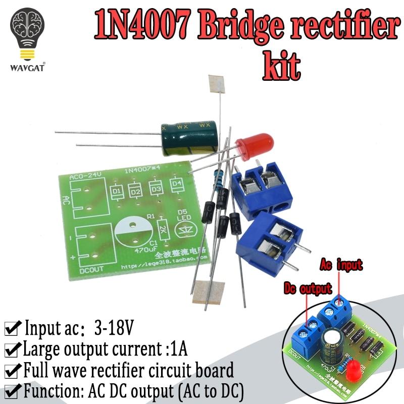 1N4007 Diy Kit IN4007 Bridge Rectifier AC DC Converter Full Wave Rectifier PCB Board KIT Parts Electronic Suite