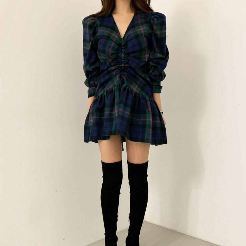 H1565cdf884ec4ad5a7d36120f146fe71j - Autumn V-Neck Puff Sleeves Waist-Controlled Color-Hit Plaid Drawstring Mini Dress