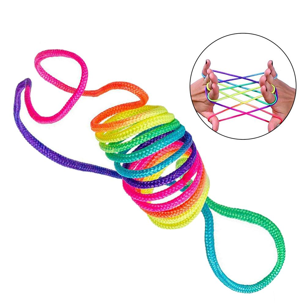 2pcs 5pcs Children Kids Fumble Finger Thread Rope Rainbow Color String Game Developmental Toy Puzzle Educational Game