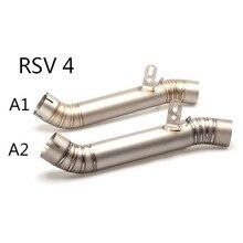 Titan Legierung 60,8mm Motorrad Auspuff Mittleren Link Rohr System Für Aprilia RSV4 2009 zu 2013 2014 2015 Slip auf
