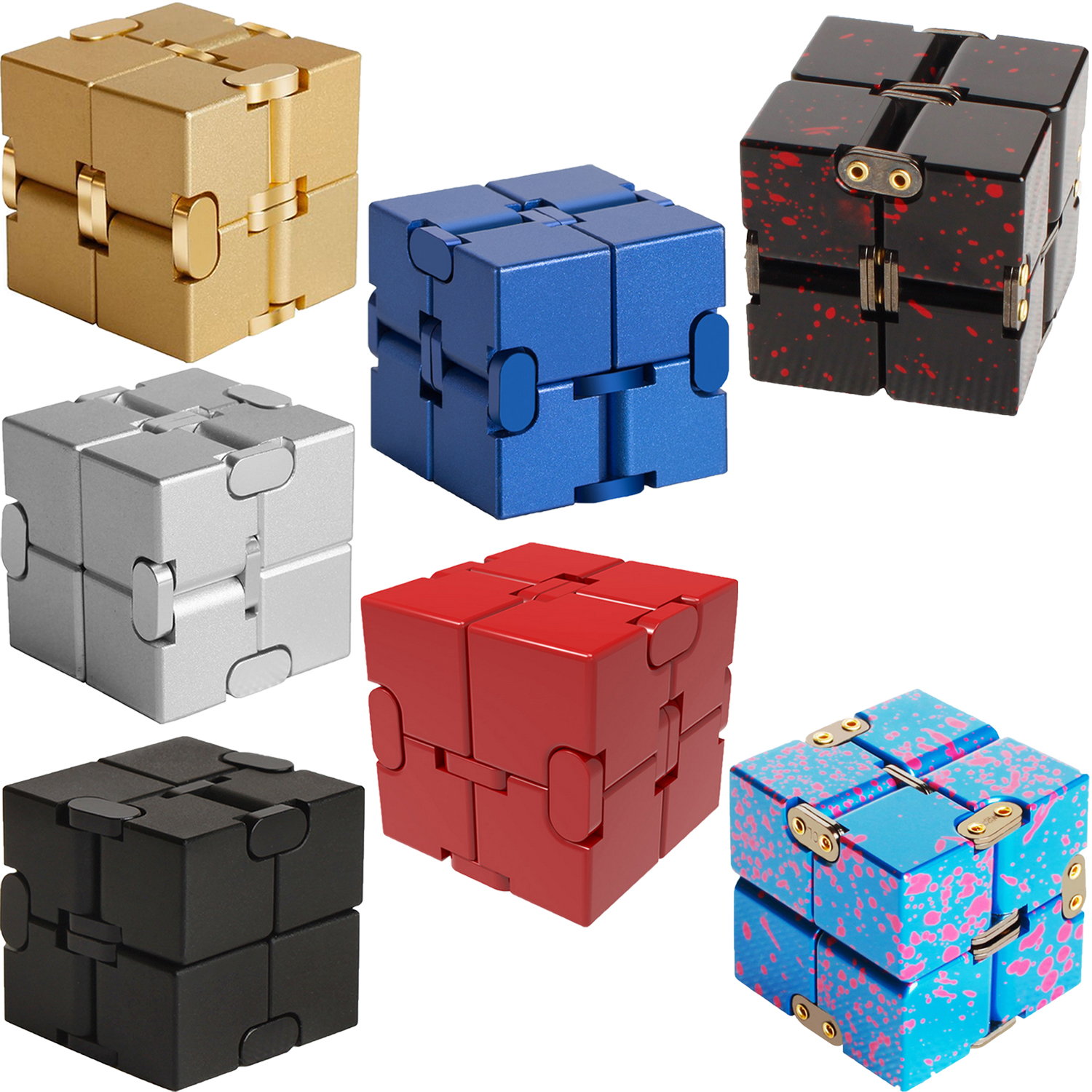Kids Adults Aluminum Alloy Mini Infinite Cube Puzzles Finger Infinity Cubes Office Flip Cubic Puzzle Stress Anxiety Relief Toy