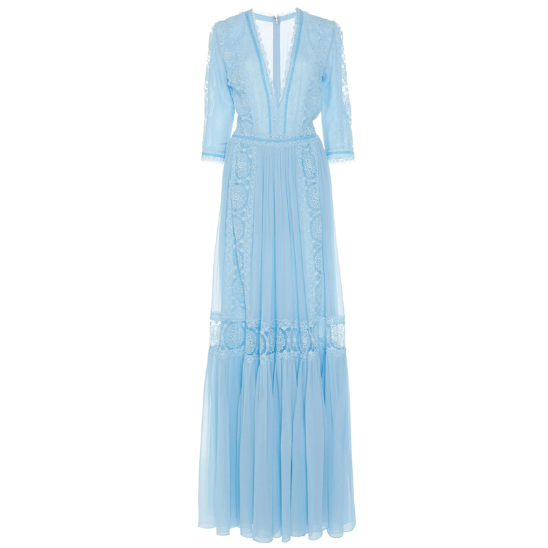 Élégant bleu évider dentelle longue robe de soirée femmes été col en v demi manches en mousseline de soie Patchwork plissé Maxi robe robe de piste - 4