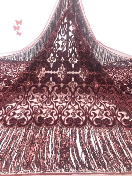 Latest Nigerian Velvet Lace Fabric Africa Sequin Lace Fabric Soft Stretch Velvet Lace Ghana Wedding Dress FJ3585