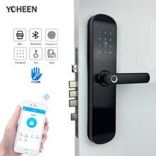 Электронная безопасность Смарт Bluetooth приложение WiFi цифровой код IC карты биометрический отпечаток пальца дверной замок для дома
