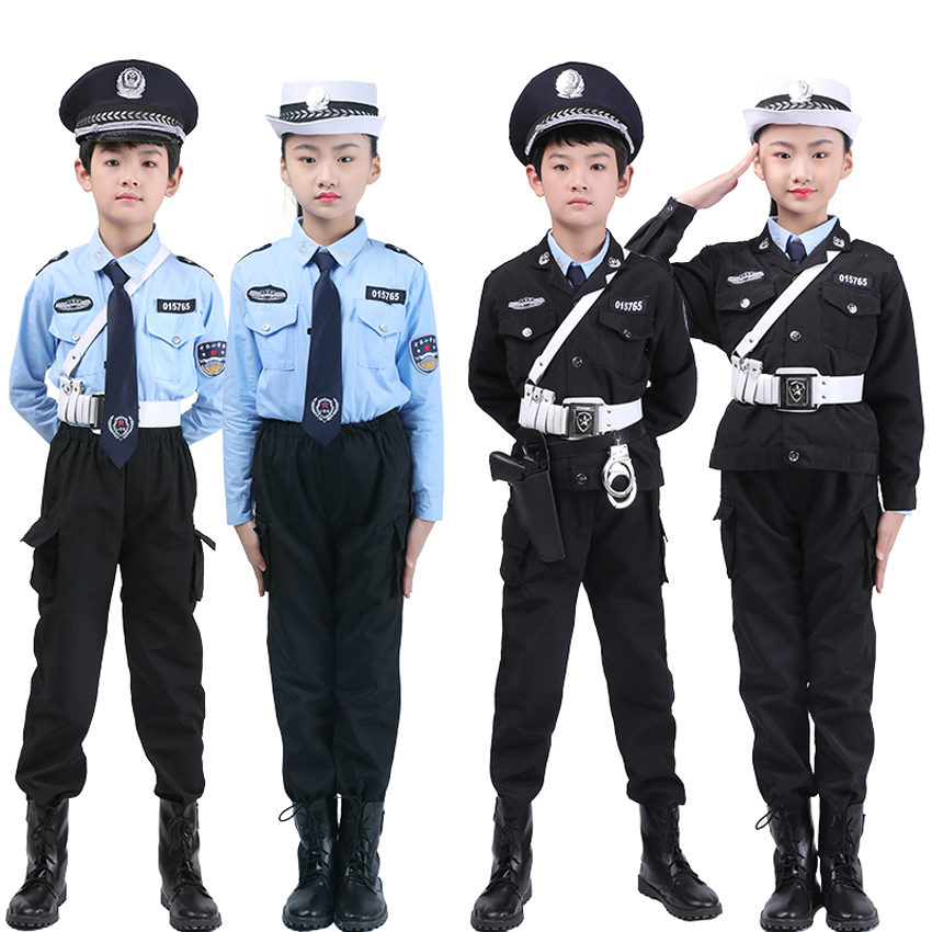 Deluxe Kids Police Officer Policeman Cosplay Costumes Accessories Halloween Carnival Fancy Role-play Unisex Military Uniform