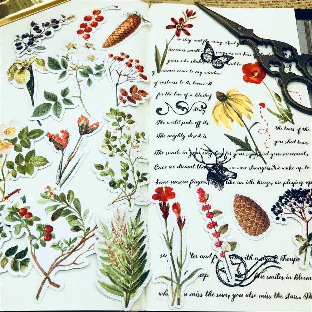 31Pcs/Pack Travel Small Flower Leaves Sticker DIY Craft Scrapbooking Album Junk Journal Happy Planner Decorative Stickers
