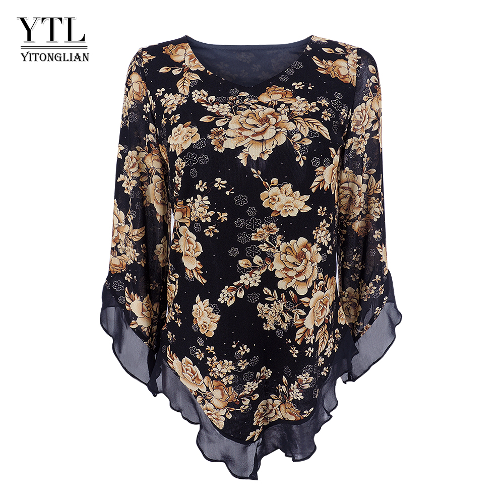 Yitonglian Women Vintage Floral Print Scarf  V Neck Party Butterfly Top Mesh Blouse Plus Size Loose V-hemline Long Shirt H369