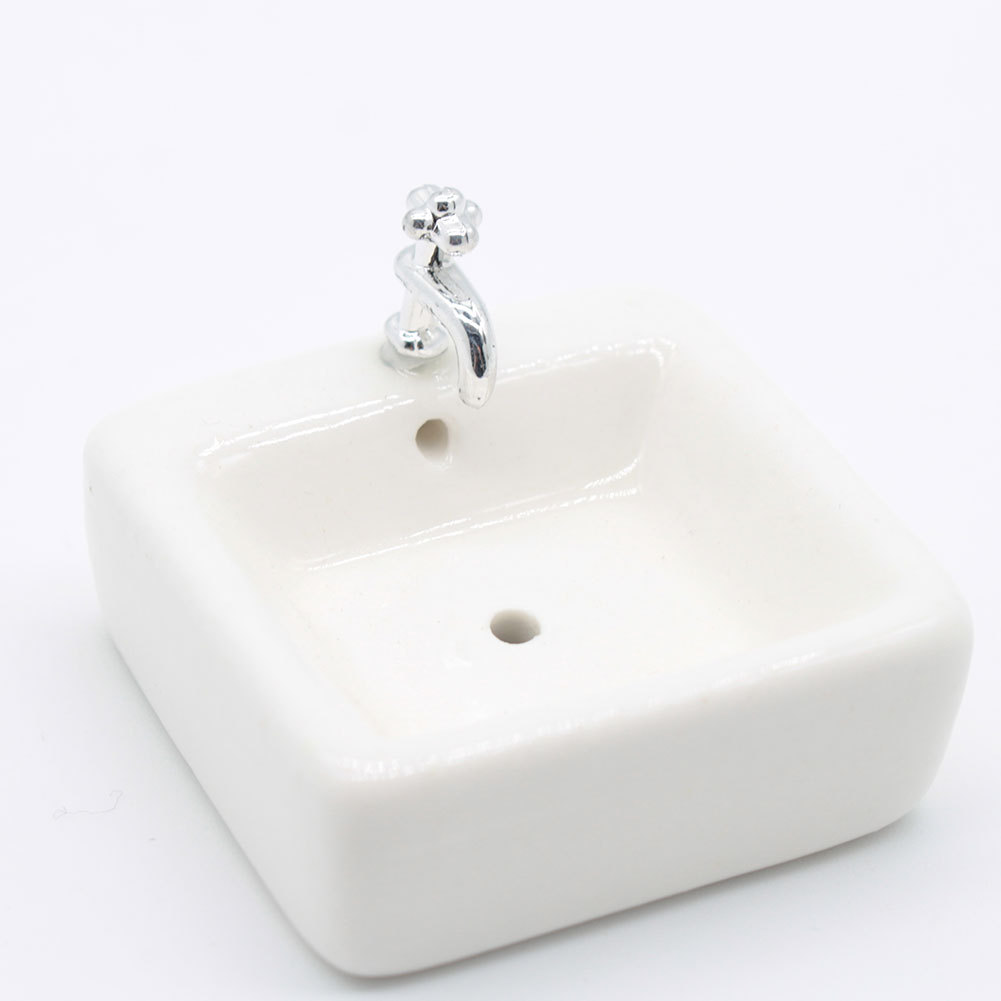 Square Dollhouse Bathroom Sink 1:12 Miniature Ceramic Wash Basin Bathroom Sink Model Simulation Accessory For Dollhouse White