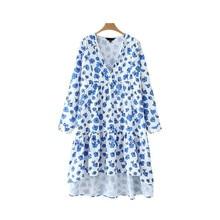 Women Sweet Floral Midi Dress Print Irregular V-neck Long Sleeve Dress for Lady Pleated Elegant Chic Mid Calf Summer Dresses
