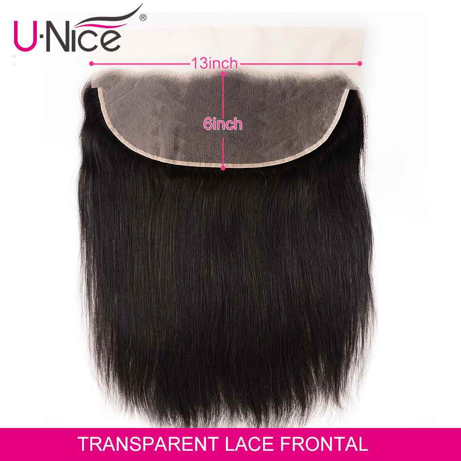 Unice Hair 13*6 Transparent Lace Frontal 8-18 Inch straight Human Hair Pre Plucked Brazilian Remy Hair Natural Color