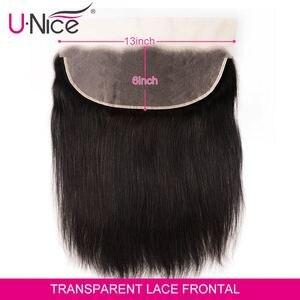 Image 2 - Unice Haar 13*6 Transparant Kant Frontale 8 18 Inch Straight Menselijk Haar Pre Geplukt Braziliaanse Remy Haar natuurlijke Kleur