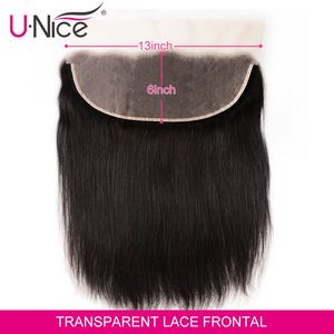 Image 2 - Unice Hair 13*6 Transparent Lace Frontal 8 18 Inch straight Human Hair Pre Plucked Brazilian Remy Hair Natural Color