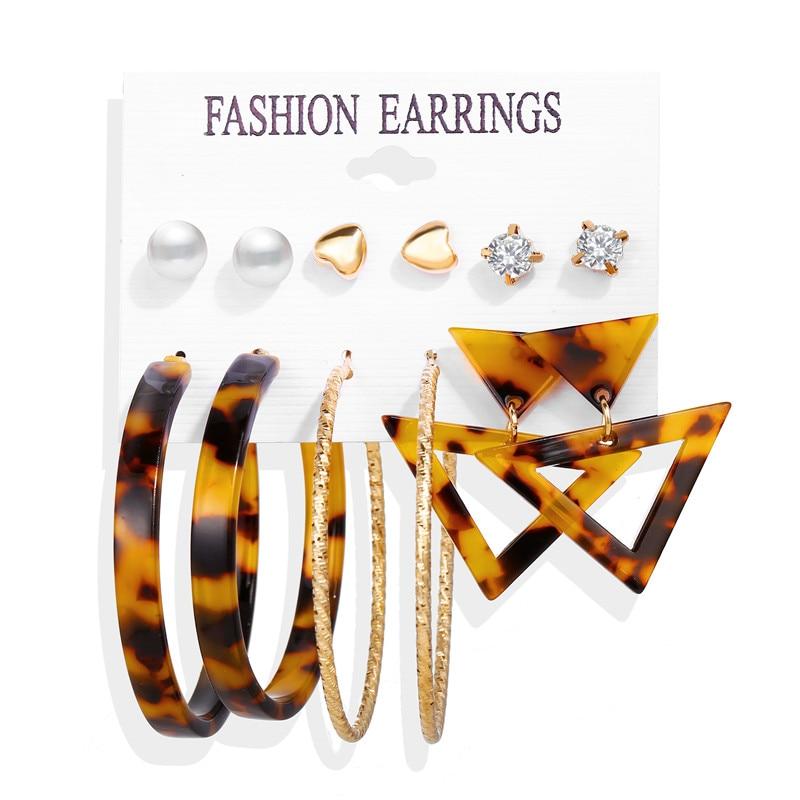 17 км акриловые серьги с кисточками для женщин, богемные серьги, набор больших геометрических висячих сережек Brincos, Женские Ювелирные изделия DIY - Окраска металла: Earrings Set 2