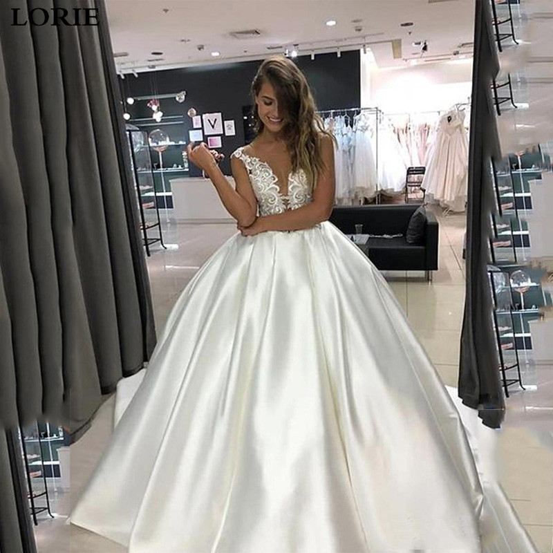 LORIE Princess Wedding Dress Top Lace Appliqued A-Line Bride Dresses With Pockets Boho 2020 Dubai Wedding Gowns
