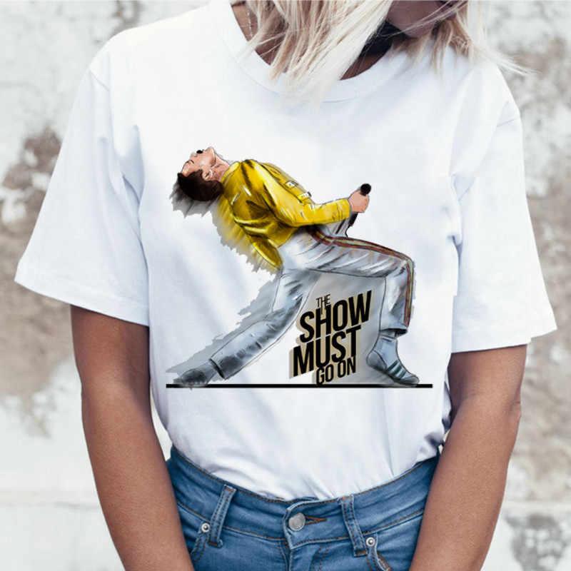 Luslos Freddie Mercury Il queen Band Cantare T-Shirt Nuove Donne di Modo di Hip Hop di Stile della Roccia T Shirt casual Camicette Femminile ventole Tee