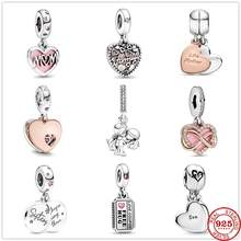 Pendentif en argent Sterling 925, amour mère et fille, cœur fendu bricolage fines adaptées aux bijoux Pandora originaux