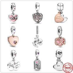 925 prata esterlina amor família mãe & filha coração dividir pingente diy contas finas caber pandora original charme pulseira jóias