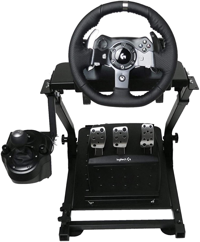 Vevor auto-carreira corrida volante suporte para logitech g25 g27 g29 e g920 dobrável volante suporte