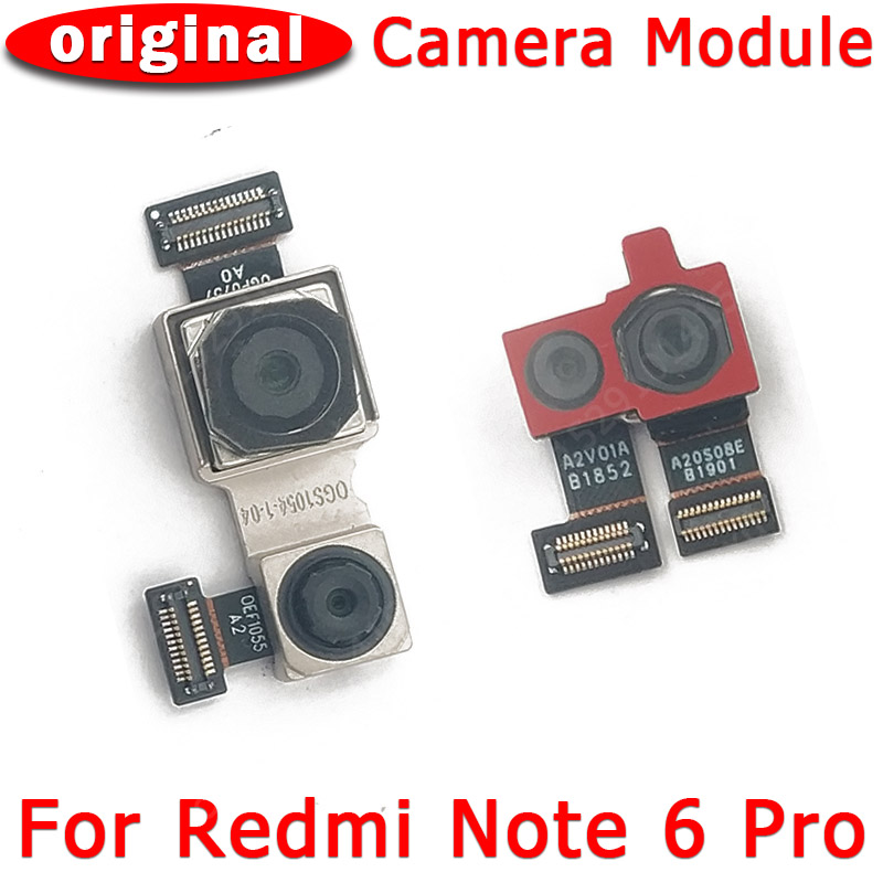 Original frente vista traseira câmera traseira para xiaomi redmi nota 6 pro principal frente frontal módulo da câmera flex peças de reposição