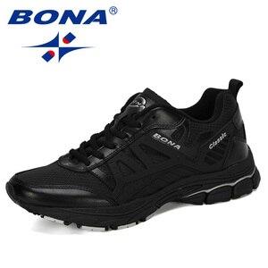 Image 2 - BONA 2019 Yeni Tasarımcı koşu ayakkabıları Erkekler Zapatillas Hombre Deportiva Yüksek erkek ayakkabı Eğitmen Sneakers Koşu yürüyüş ayakkabısı