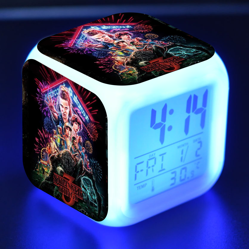 Stranger Things 3 Figure LED Alarm Clock Colorful Flash Touch Light Light-up Toys