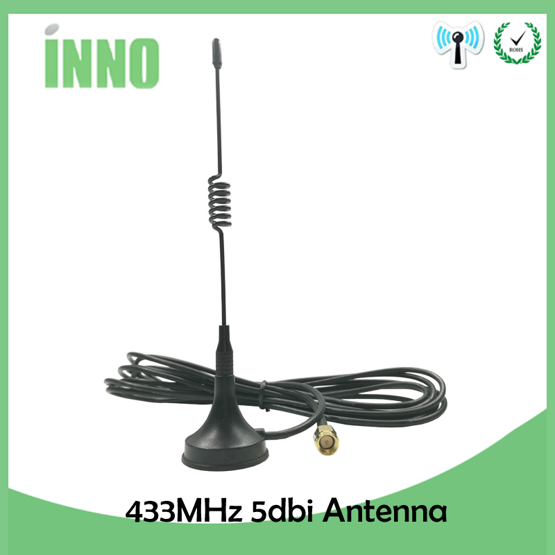 1pcs 5dbi 433Mhz Antenna 433 MHz Antena GSM SMA Male Connector With Magnetic Base For Ham Radio Signal Booster Wireless Repeater