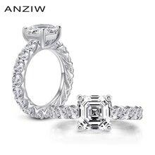 925 srebro obrączki dla kobiet pełna wieczność 4 karaty Asscher Cut pierścionki prezent anillos plata para mujer