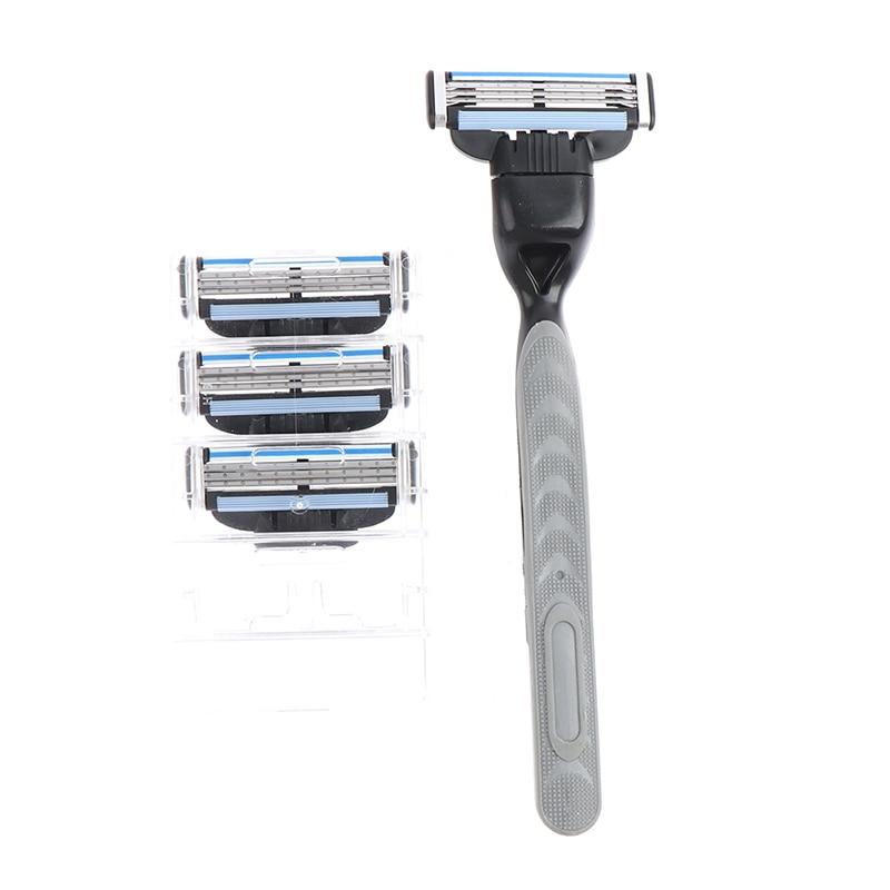 4pcs Razor Blade With 1 Razor Handle Cassette Shaving Blade For Men Face 4-Layer Blades Compatible For Mache 3 Machine 4