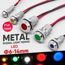 1pcs 6mm 8mm 10mm 12mm 14mm 16mm Waterproof IP67 Metal LED Warning Indicator Light Signal Lamp Pilot Wire 3V 5V 12V 24V 220V