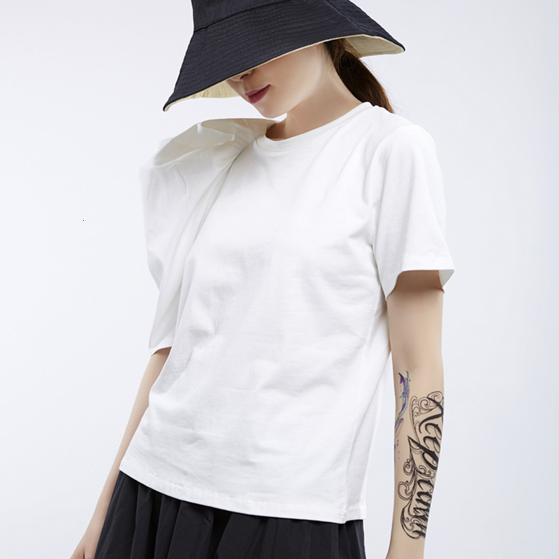 New Fashion Style White Loose Pleated Three-dimensional Loose T-Shirt Fashion Nova Clothing